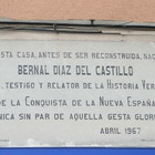 Bernal Díaz del Castillo. Placa