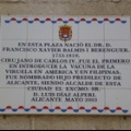 Francisco Balmis. Placa